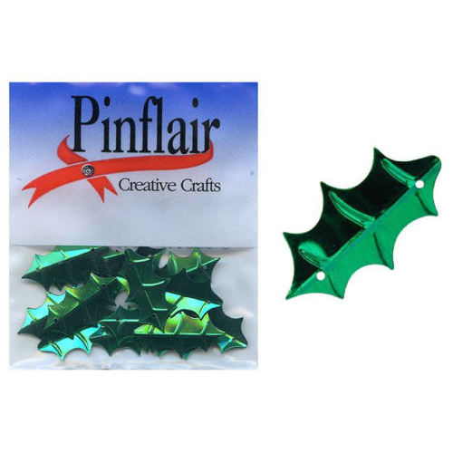 Pinflair Holly Leaf Sequins - Green, 24mm, pk of 2g