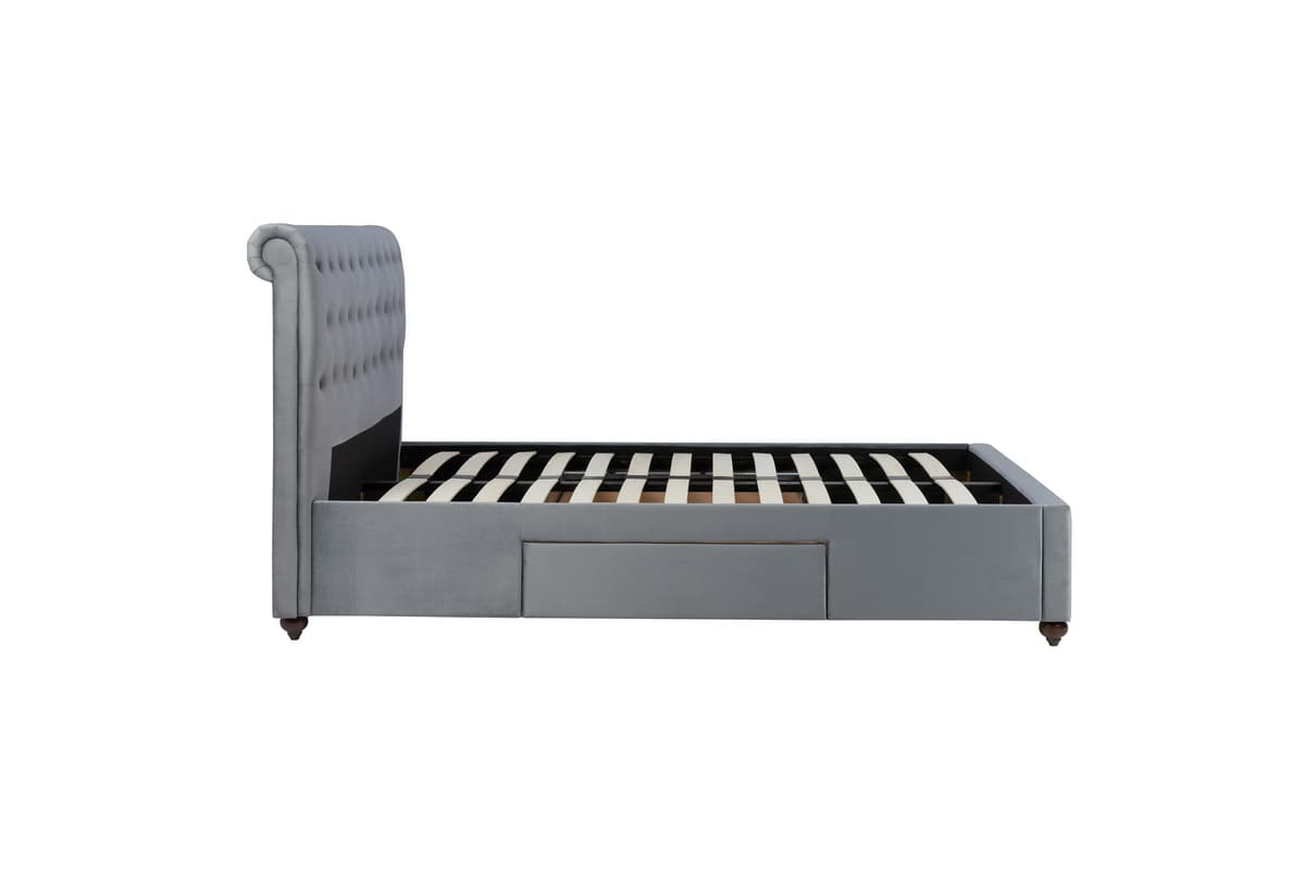 MARLOW 2 DRAWER GREY VELVET FABRIC BED – SUPER KING SIZE