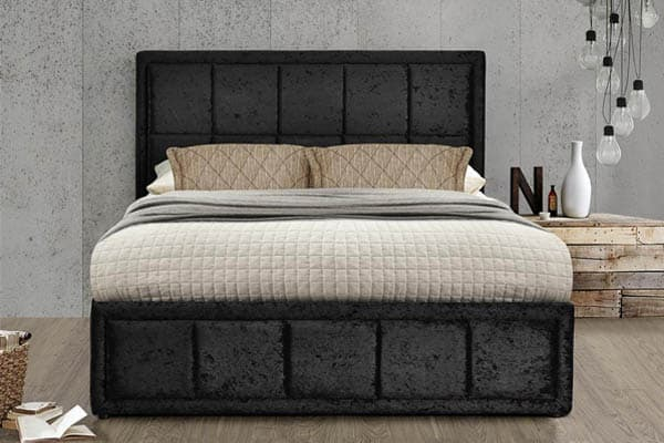 HANNOVER FABRIC OTTOMAN BLACK VELVET BED - DOUBLE