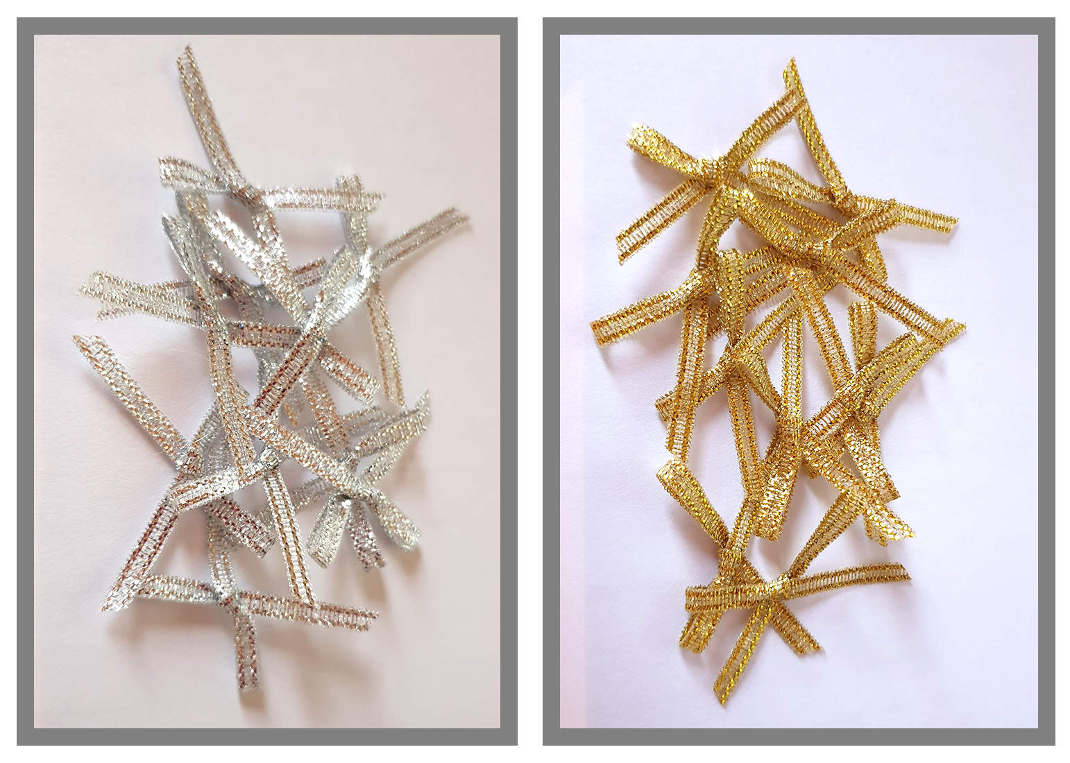 Small Metallic Ribbon Bows, pack of 20