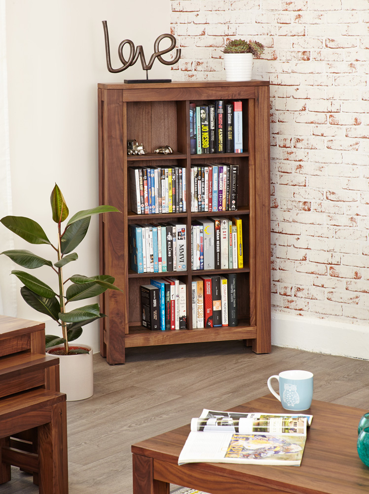 MAYAN WALNUT OPEN DVD / CD STORAGE CABINET