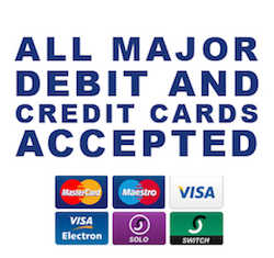 "This image displays the credit and debit cards that Platinum Emergency Services Ltd accepts to assist clients when booking emergency plumbers and heating engineers. The image is on a white background with blue wording that reads ""ALL MAJOR  DEBIT AND CREDIT CARDS ACCEPTED"". Underneath this word there are six credit and debit card logos which are MasterCard; Maestro; Visa; Visa Electron; Solo and Switch."