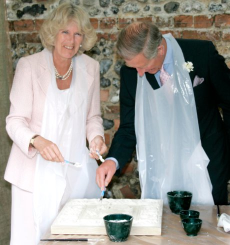 Prince Charles and Camilla have a go at pargeting