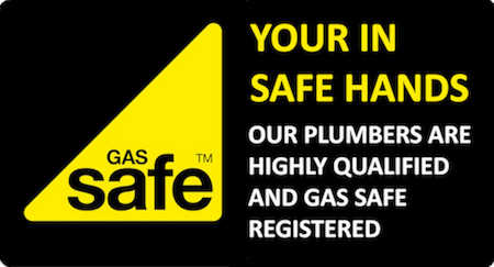 "This is an image of the Gas Safe logo. All plumbing and heating engineers that work in London and the United Kingdom on gas appliances such as boilers are required by law to demonstrate they are registered to work on boilers and others gas appliances with Gas Safe register which has taken over from the Corgi register. The Gas Safe logo is a yellow triangle on a black background with the word Gas Safe TM written within the logo. The image also has written words to the right hand side of the Gas Safe logo ""your in safe hands Our plumbers are highly qualified and Gas Safe registered""."
