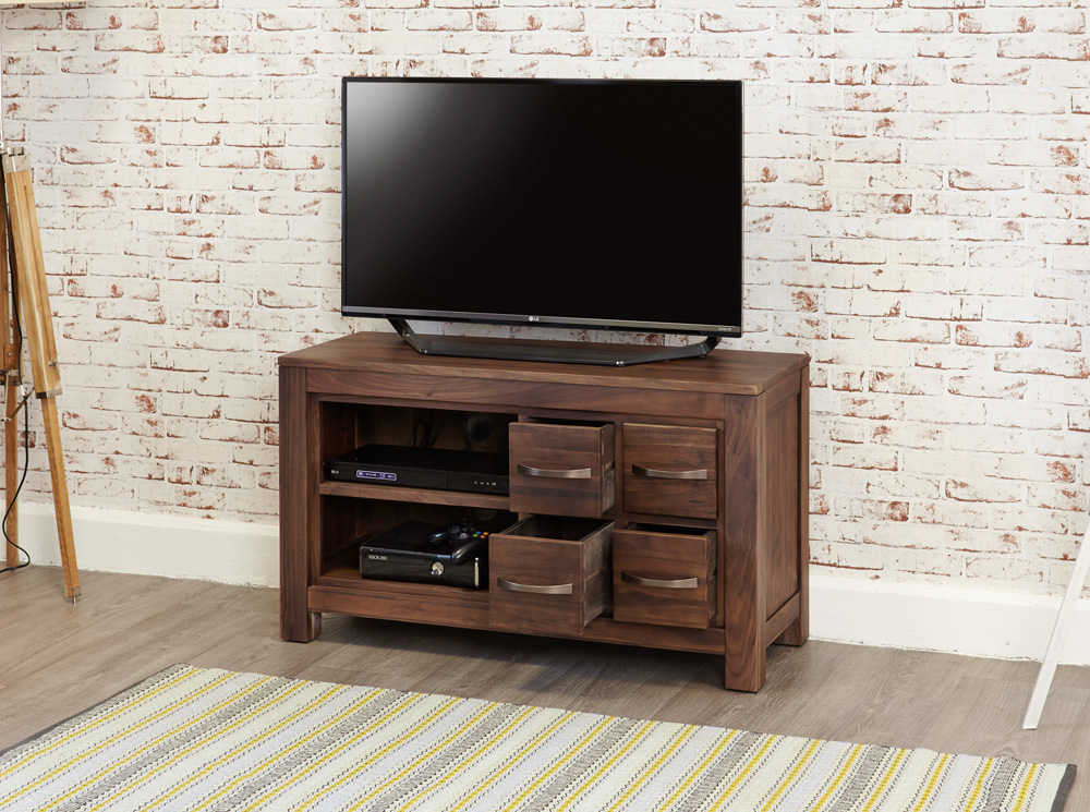MAYAN - WALNUT FOUR DRAWER TELEVISION CABINET