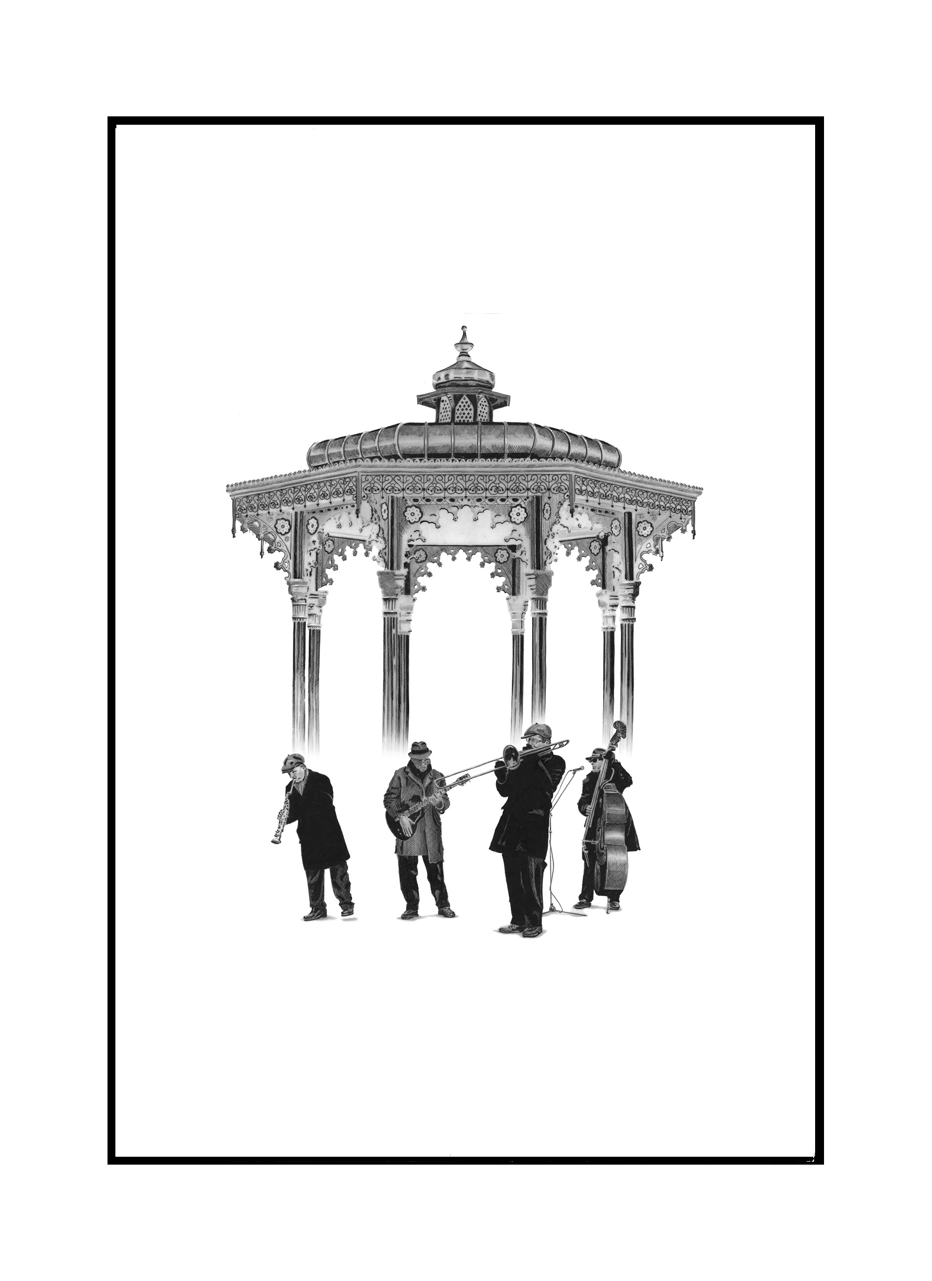 'Band Stand' Limited Edition Mounted Print