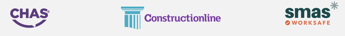 CHAS, Constructionline and SMAS logo's for the health and safety qualified accreditations in the construction industry.