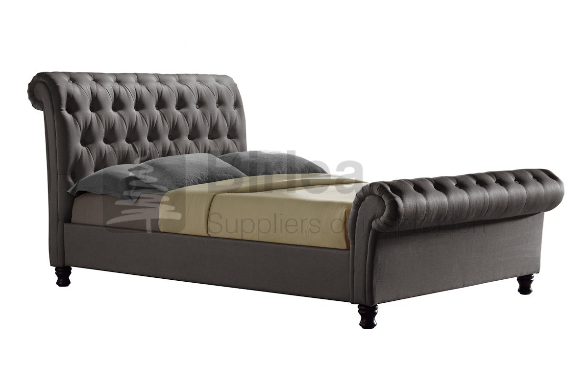 CASTELLO GREY FABRIC BED - DOUBLE