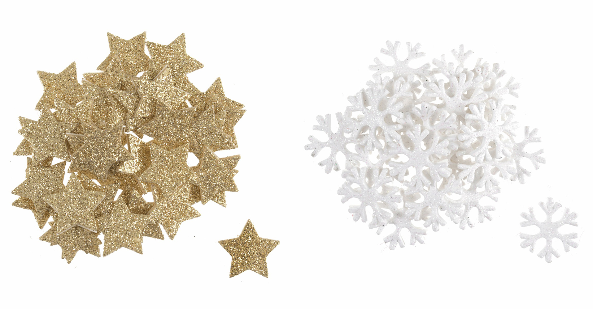 Trimits Glitter Foam Self Adhesive Shapes, Stars or Snowflakes
