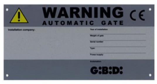 Gibidi CE Identification warning electric gate