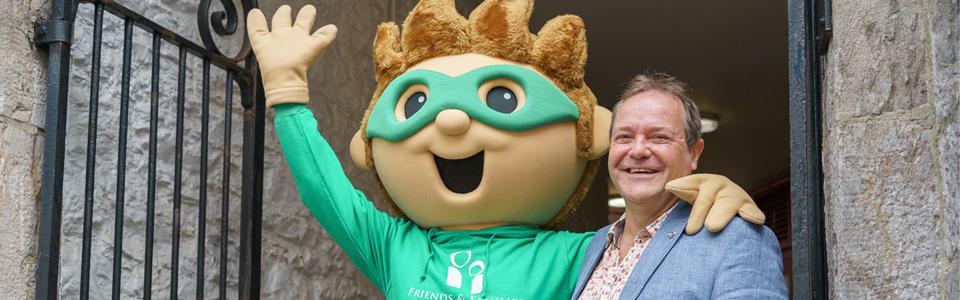 Tim Tod and charity mascot