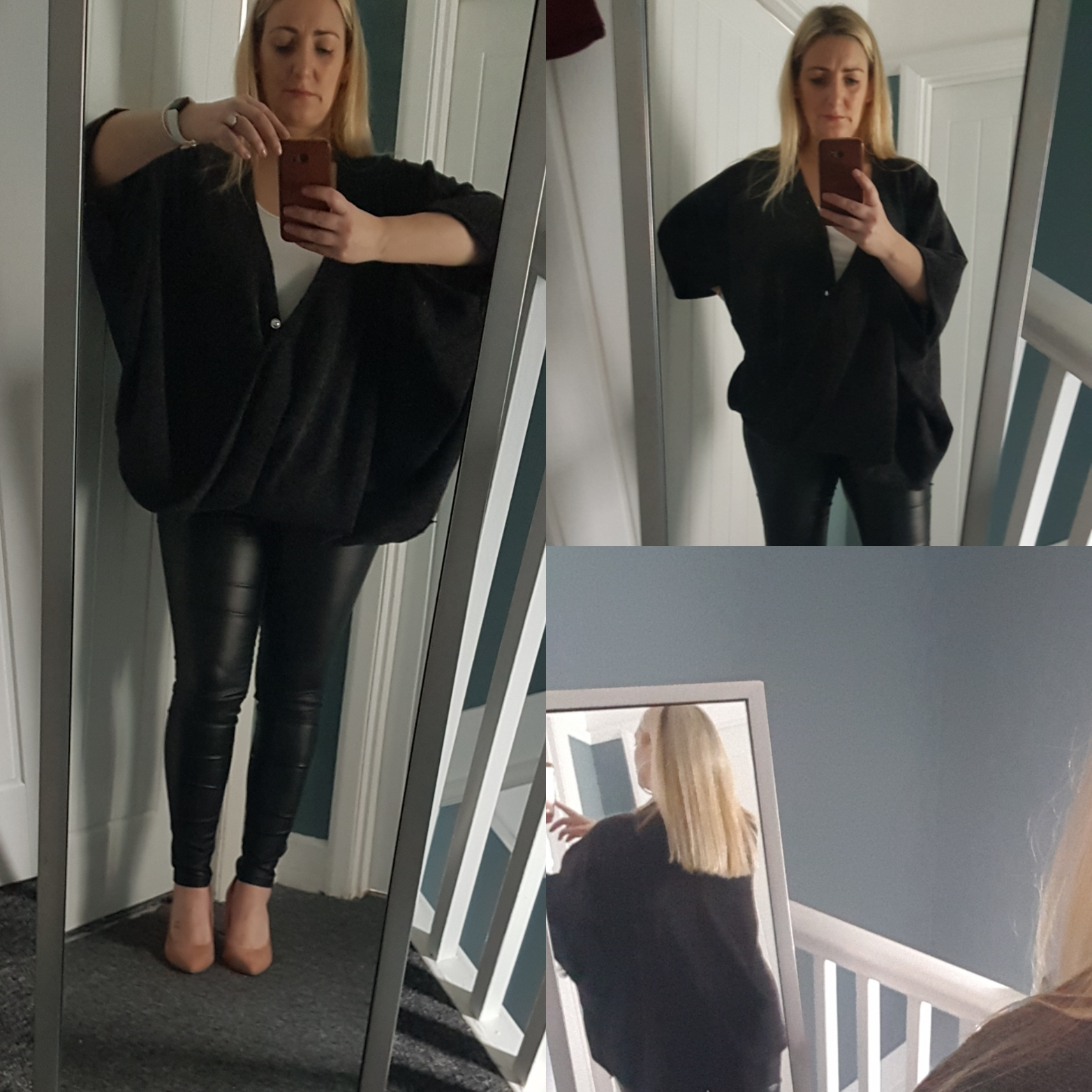 Oversized Charcoal V neck top