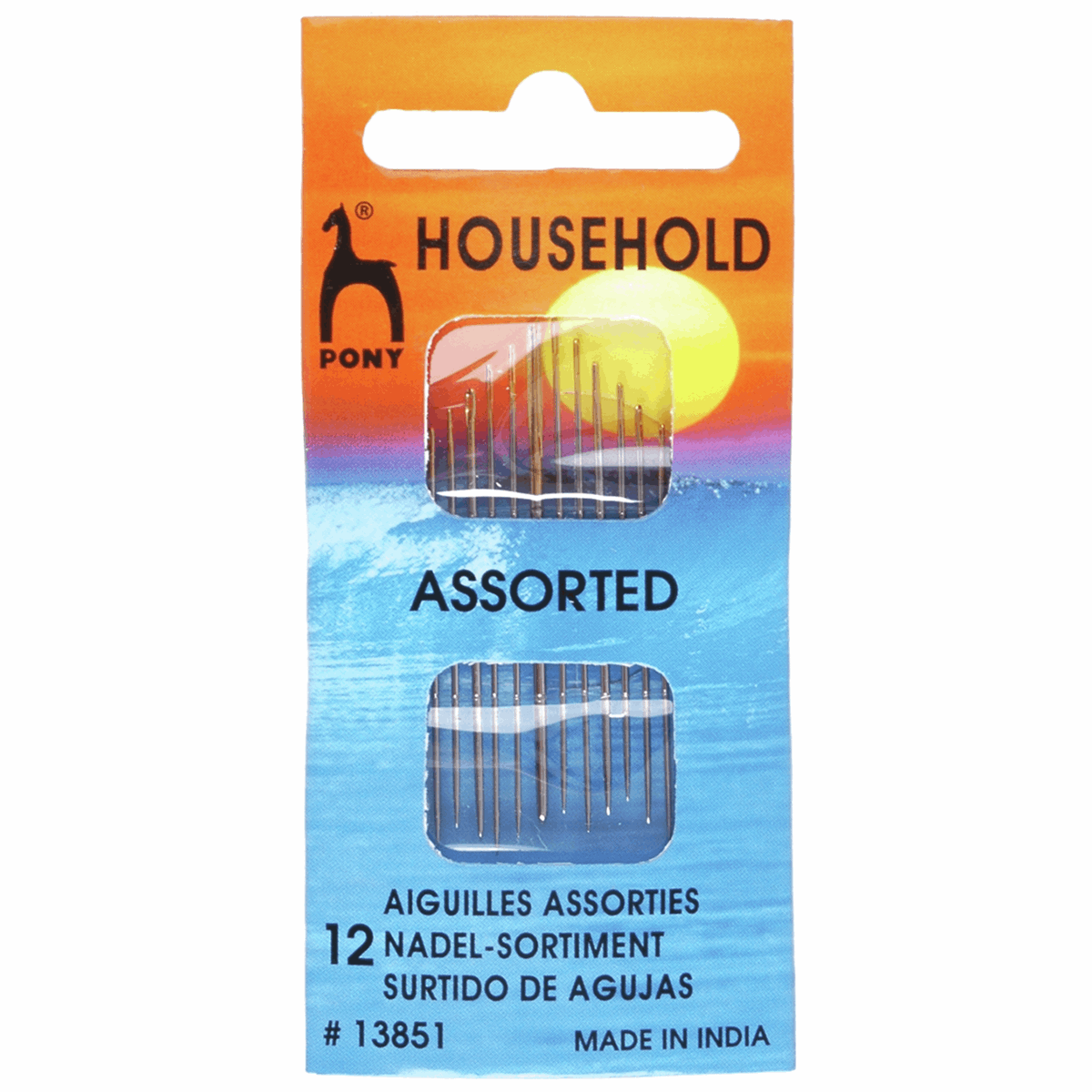 Hand Sewing Needles: Household: Gold Eye: Assorted Sizes, Pack of 12
