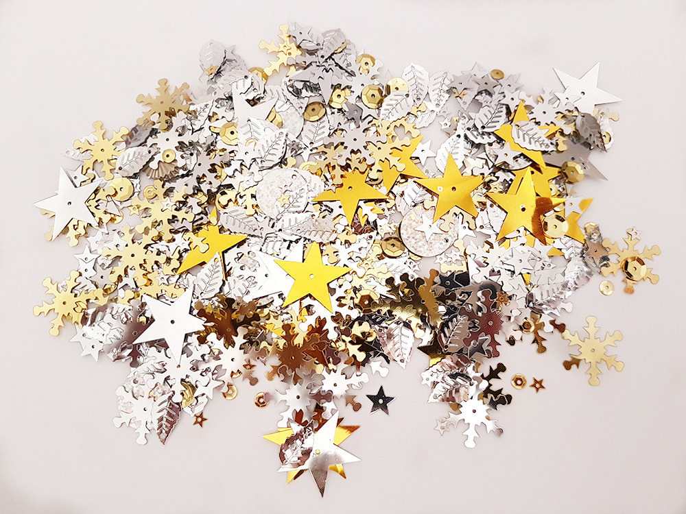 Assorted Sequins - Silver and Gold, Pack of 20g