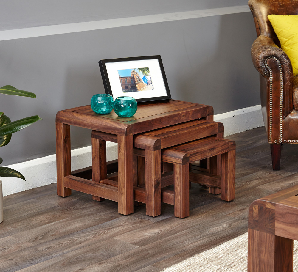 SHIRO - WALNUT NEST OF 3 COFFEE TABLES