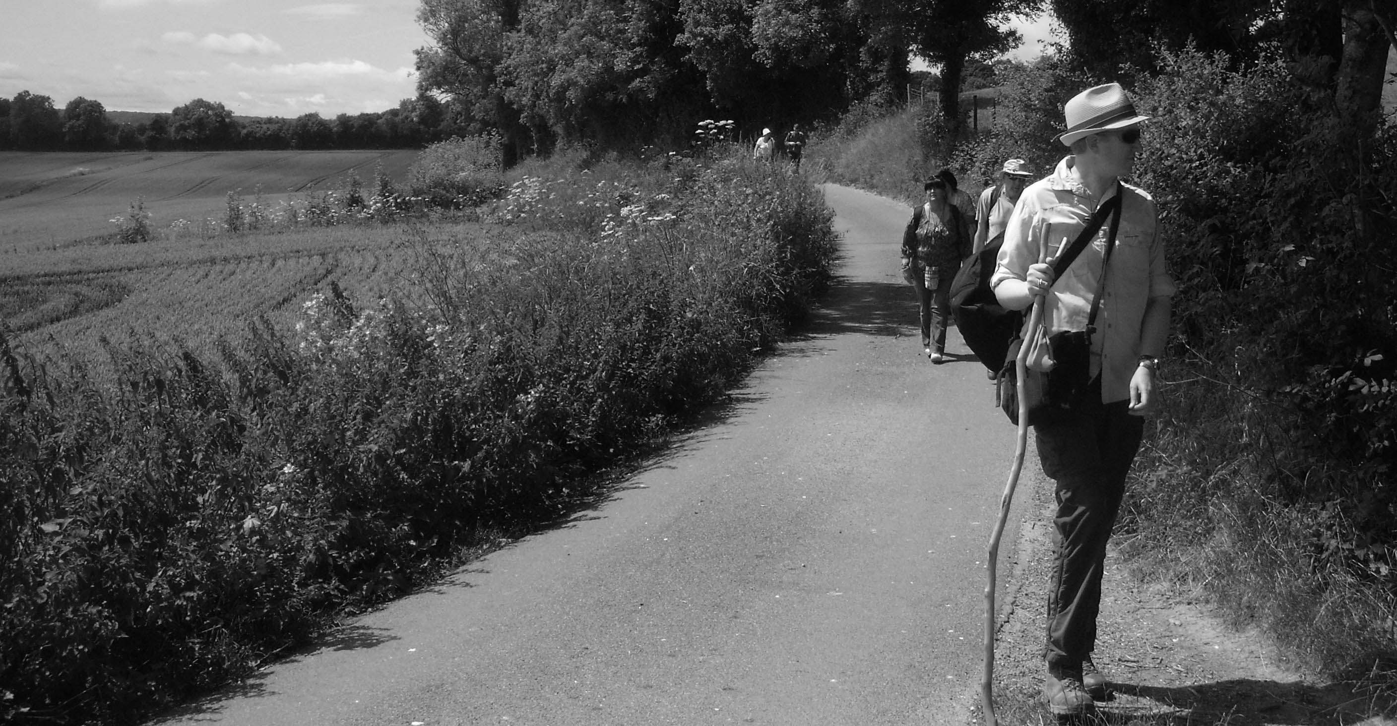 Rob leading a Pilgrimage on the Pilgrims Way, Kent