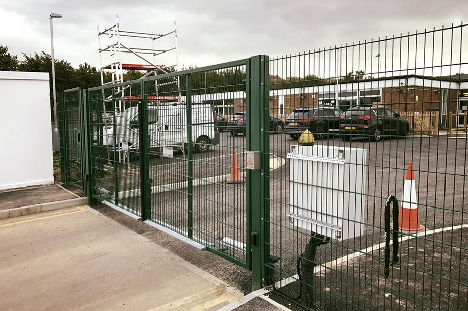 Installation in whitstable Kent at a primary school This gate is purely an exit gate only with a free exit loop with a firemans access, emergency stop button, hold open switch, flashing ligh