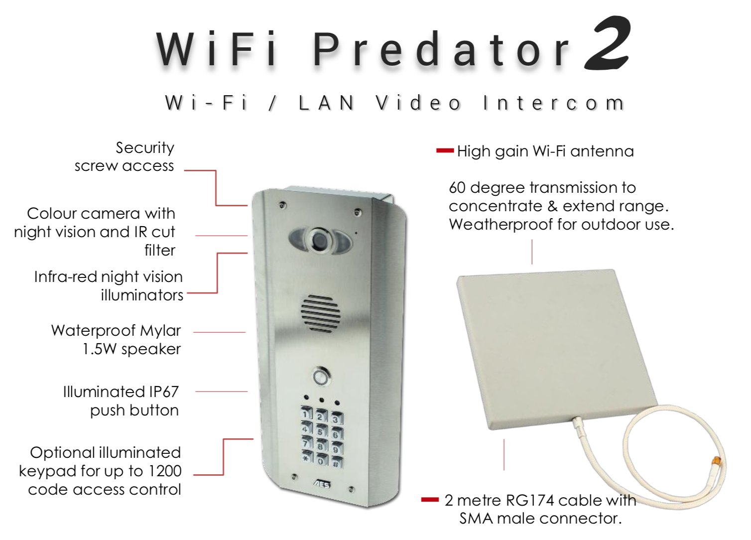 WIFI AES PREDATOR 2 INTERCOM