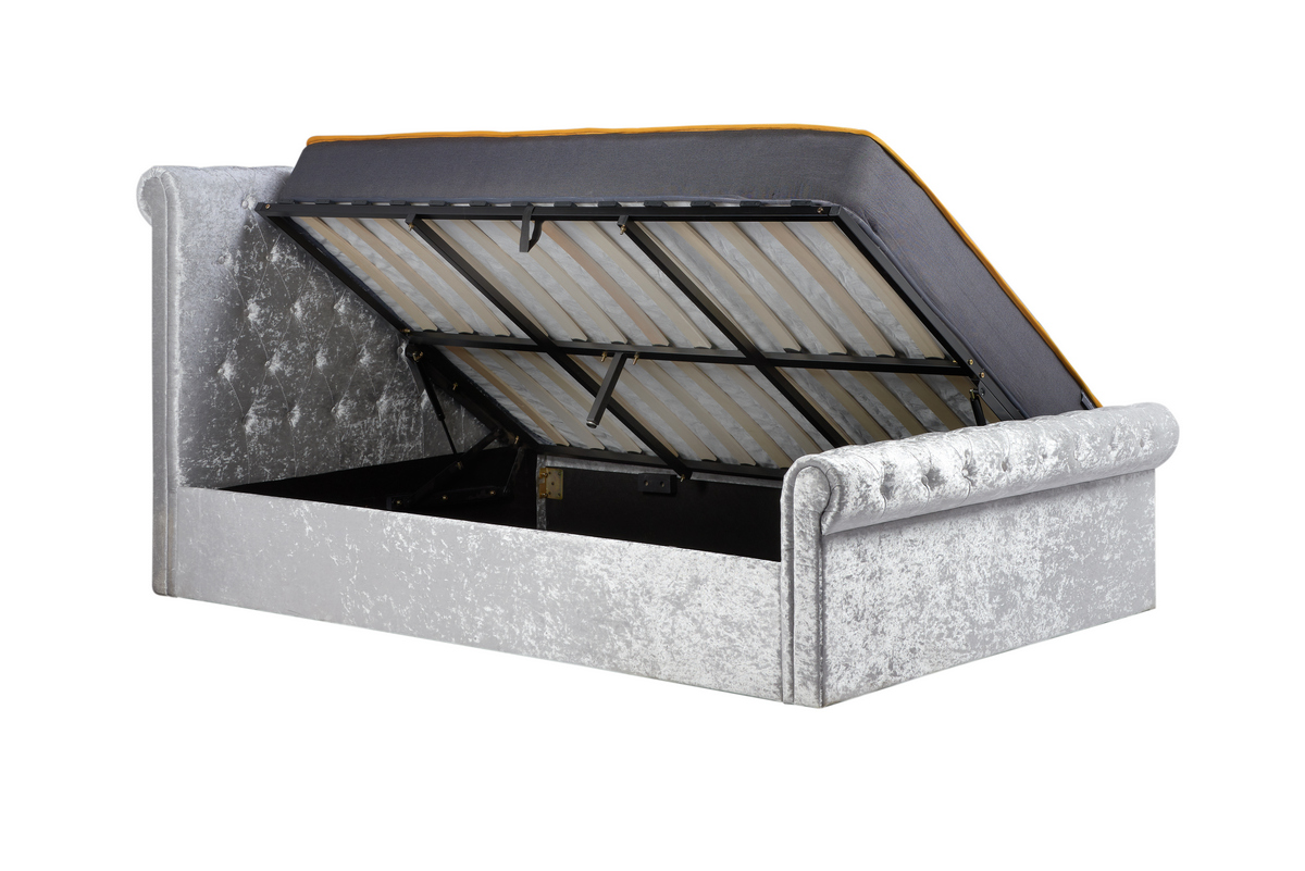 SIENNA SIDE OTTOMAN DOUBLE BED - STEEL CRUSHED VELVET