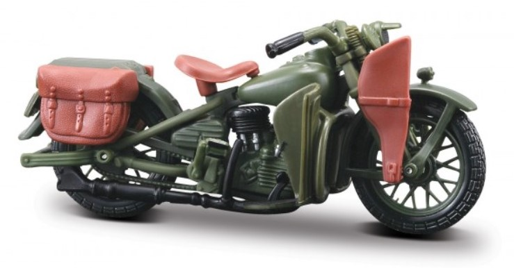 1942 HARLEY DAVIDSON WLA FLAT HEAD - 1:18 Die-cast Motorbike Model by Maisto Series 26