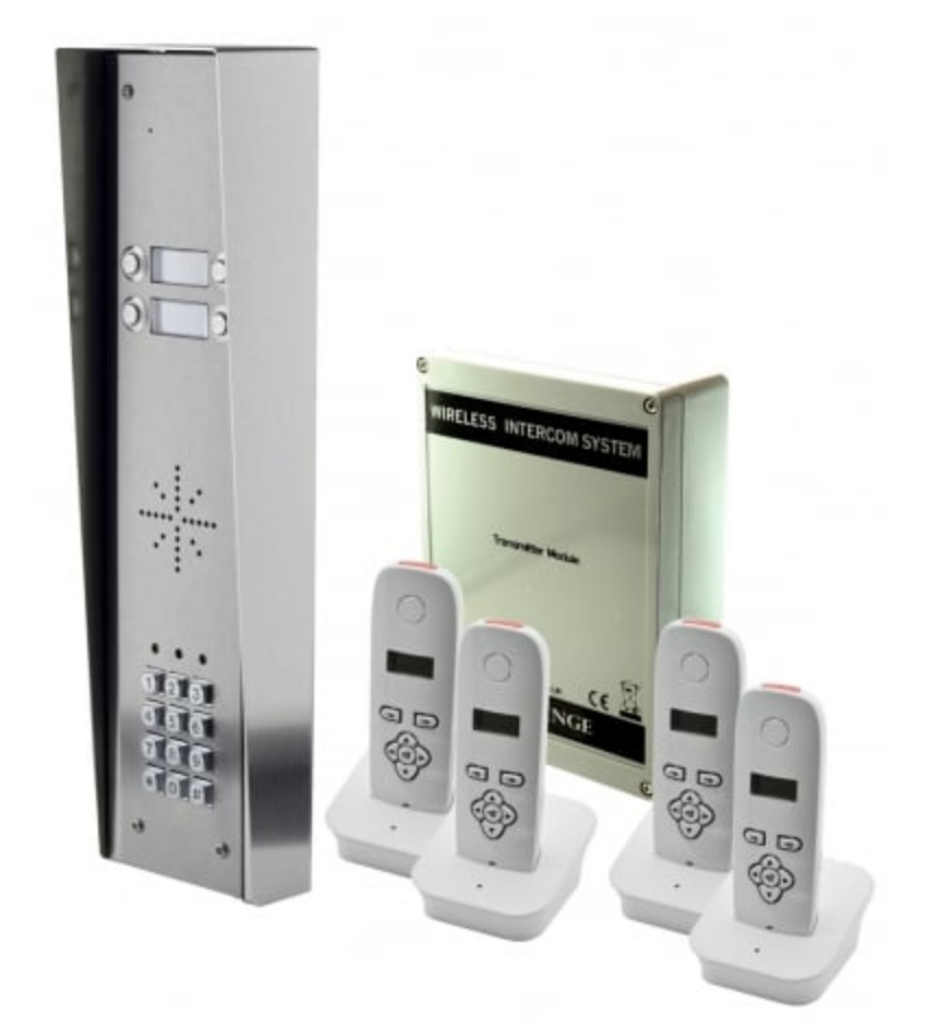 AES 703-HSK4 4 button hooded intercom with 4 handsets
