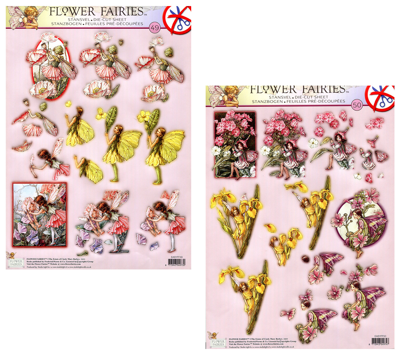 Die Cut A4 Decoupage Sheets - Flower Fairies #49 & #50