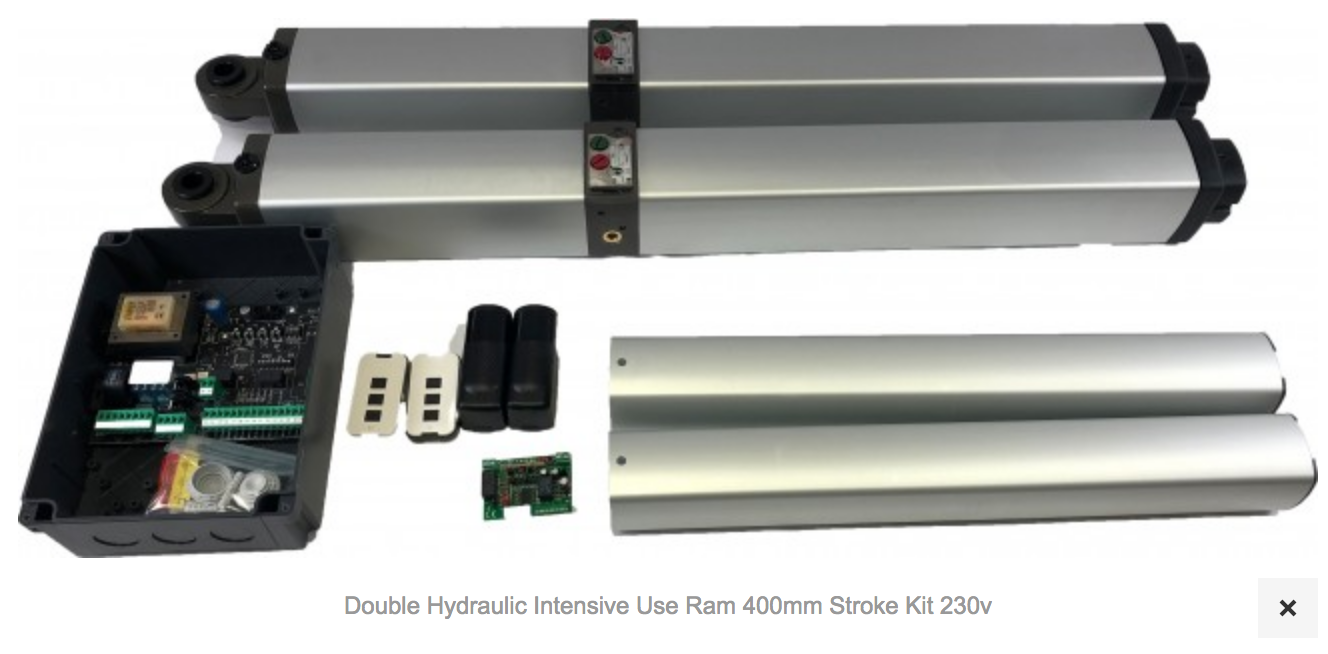 1 X AT700 Double Hydraulic Intensive Use Ram 400mm Stroke Kit 230v