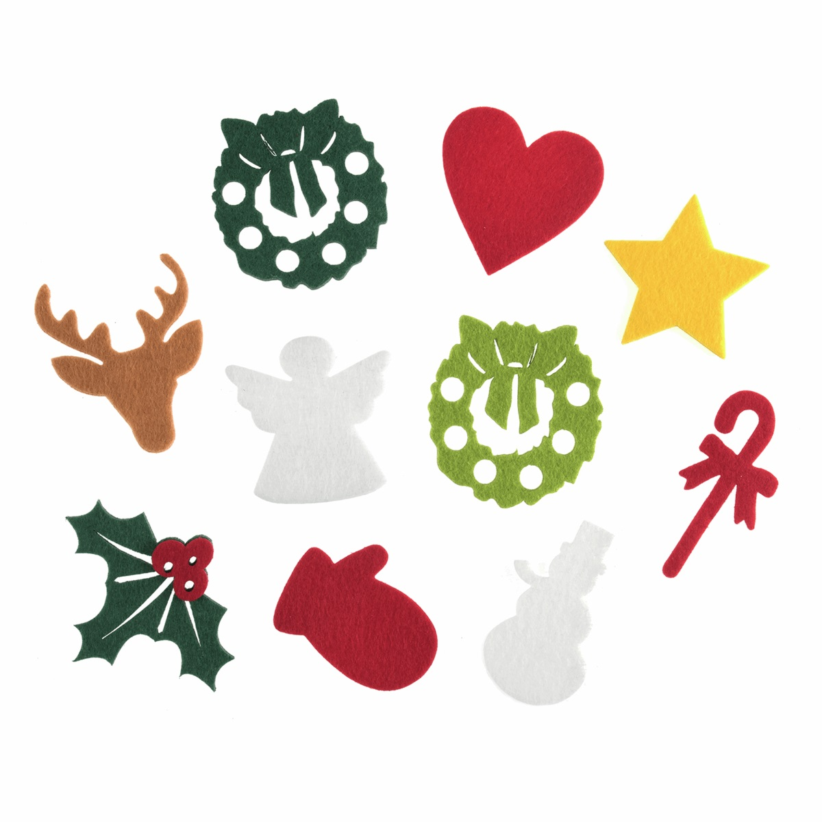Christmas Felt Shapes, Approx 6cm, Pack of 18 (9 designs)