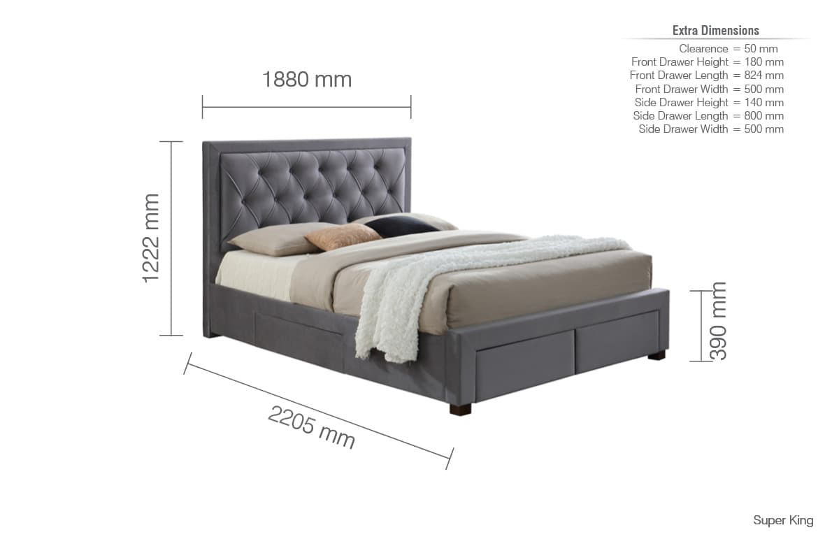 WOODBURY GREY FABRIC DRAWER BED SUPER KING SIZE