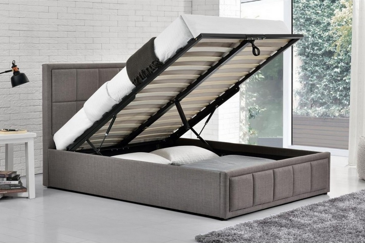 HANNOVER FABRIC OTTOMAN GREY BED - DOUBLE