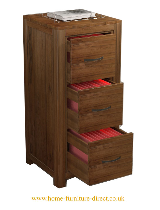 MAYAN - WALNUT 3 DRAWER FILING CABINET