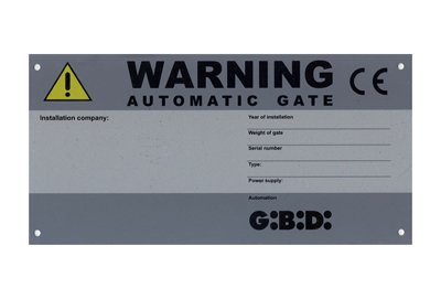 CE Identification warning electric gate