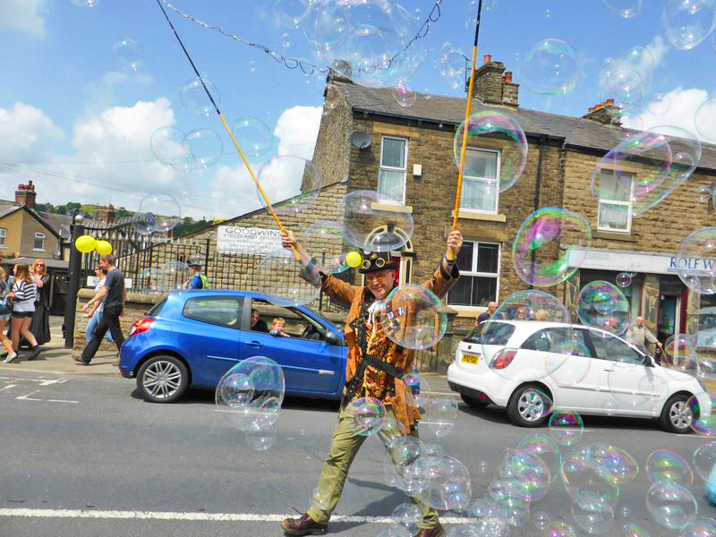 Big Bubble Man in a carnival parade