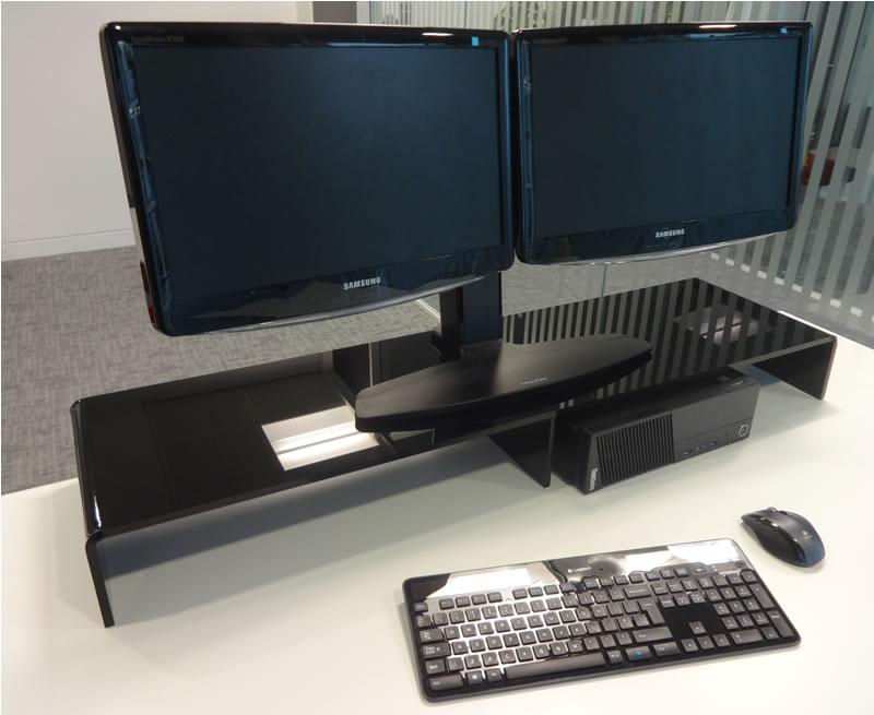 Desktop Dual Monitor Riser Desk Ideas