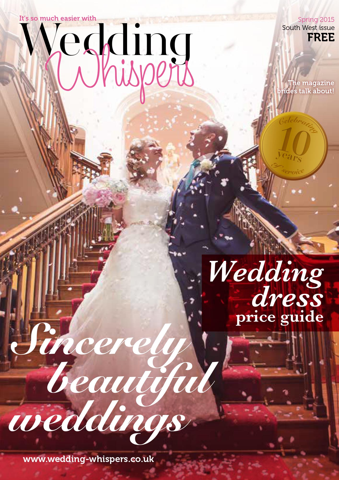 Front Cover of Wedding Whispers Magazine Spring 2015