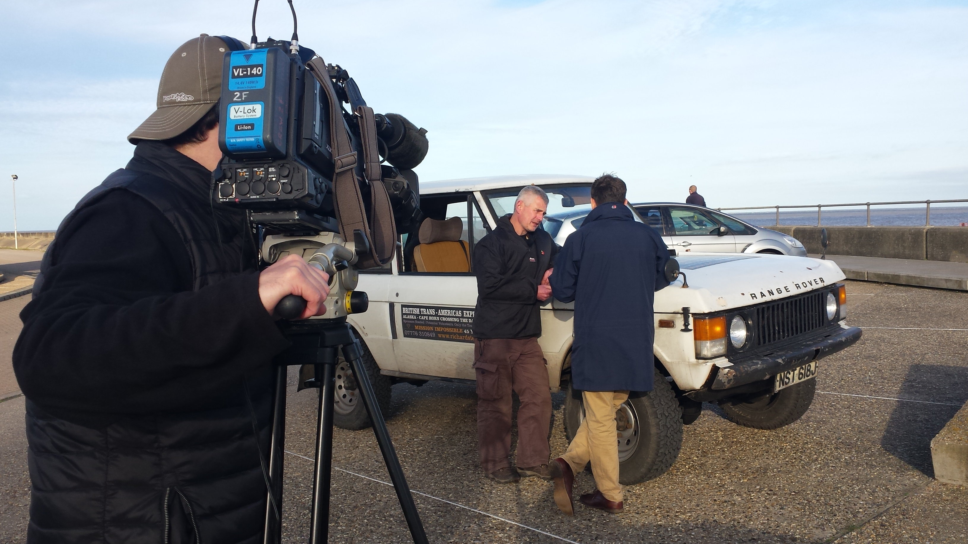 BBC Look East team Alex Dunlop and cameraman Joe interview Richard after completion of UK FULL CIRCLE 2015