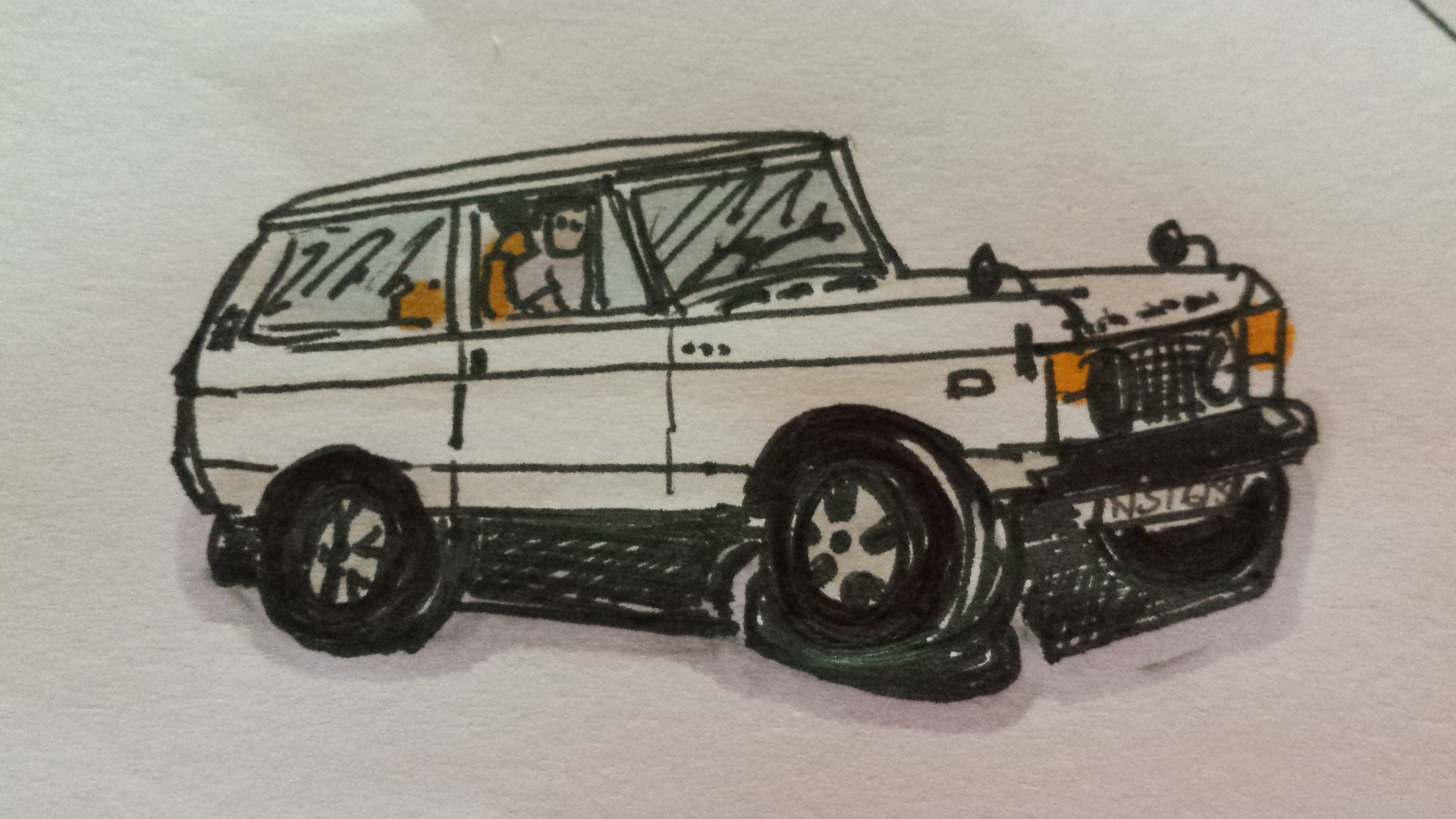 Pearl 1970 Range Rover Cartoon
