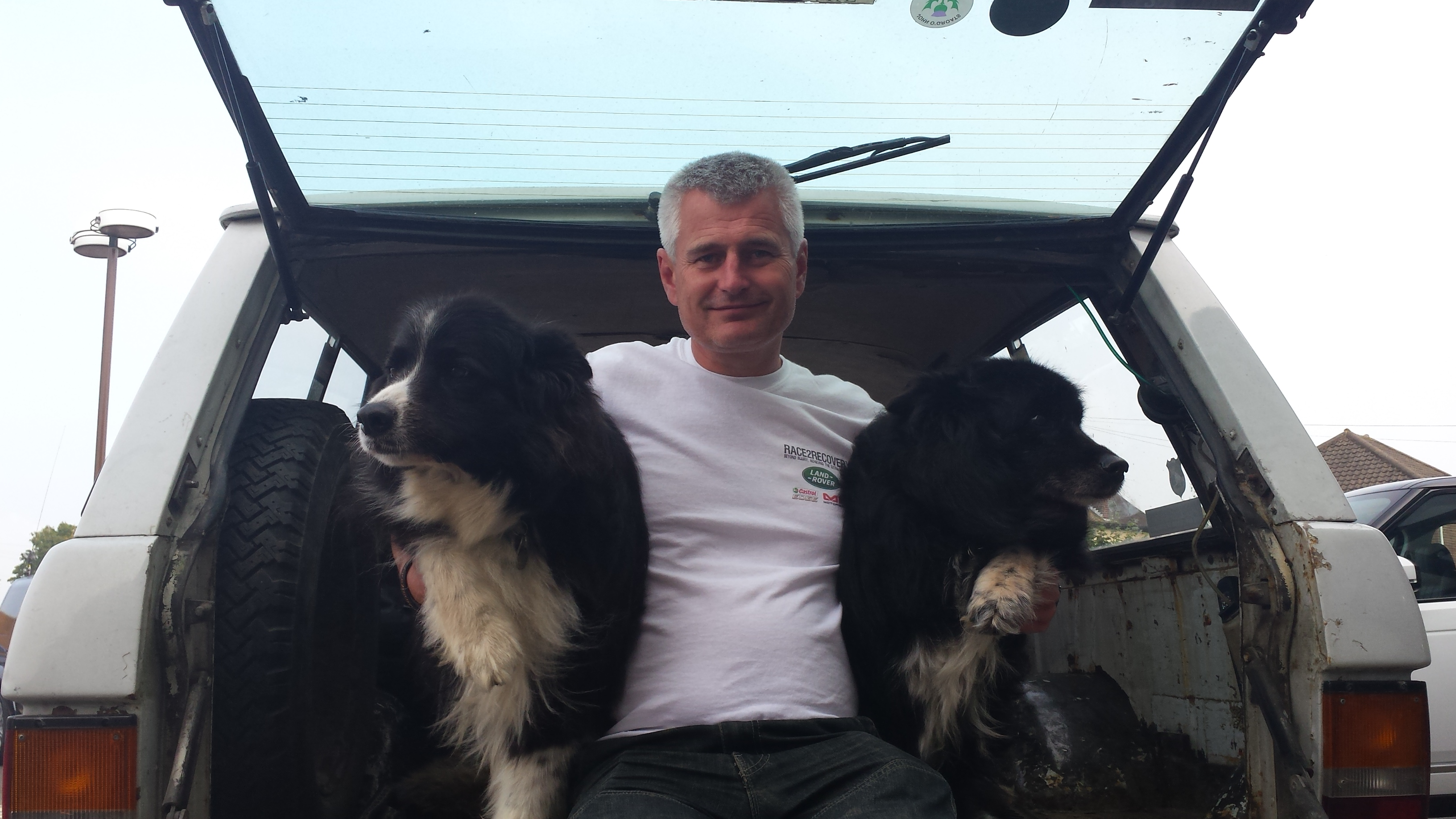 Richard Steven and his beloved girls German Shepherd-NZ Boarder Collie crossbreeds, Jess and Sox