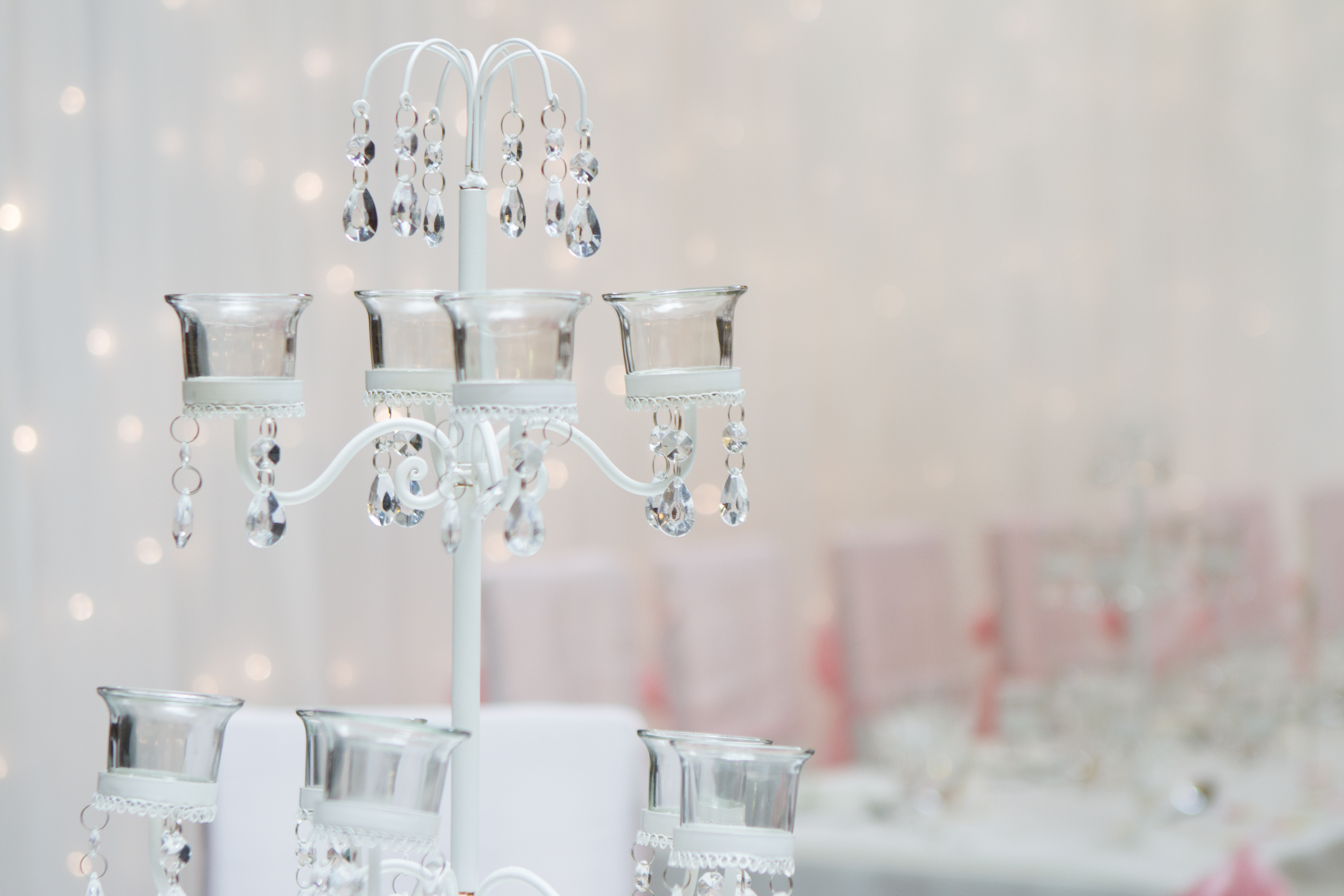 Tea Light Tree Table Centres and Twinkle Curtain