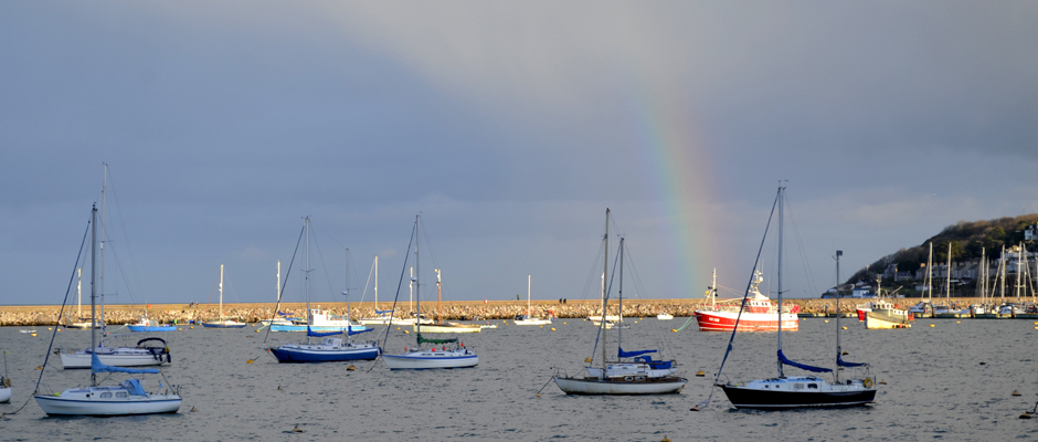 Rainbow over Brixham Breakwater