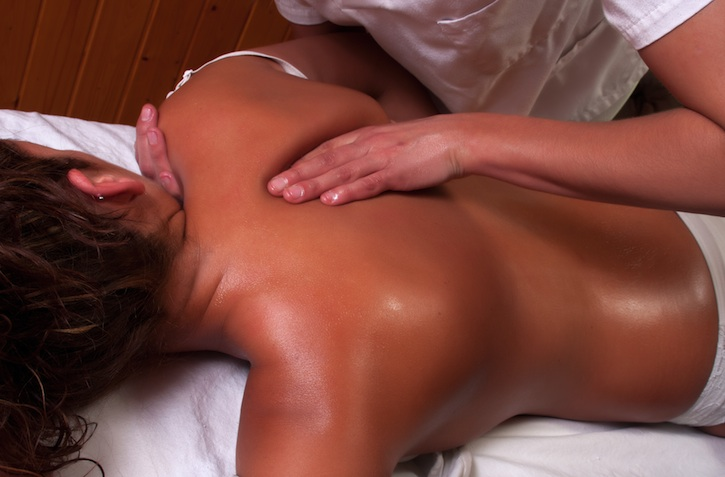 Woman Receiving Treatment Upper Back