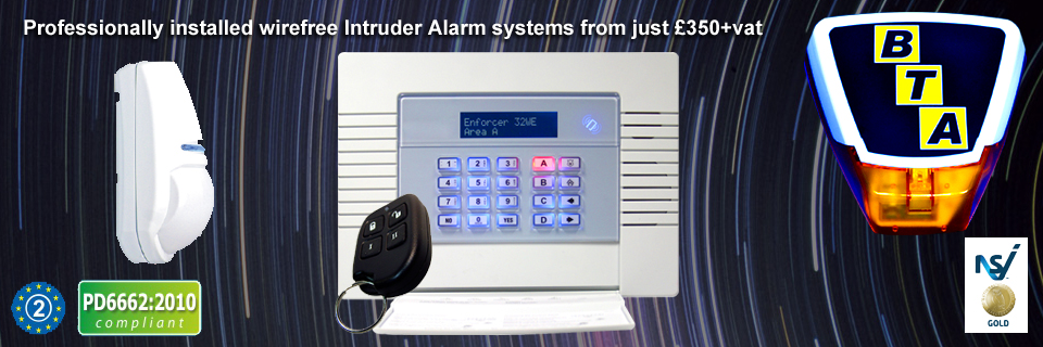 Professionally installed wirefree intruder alarms from just £350+vat