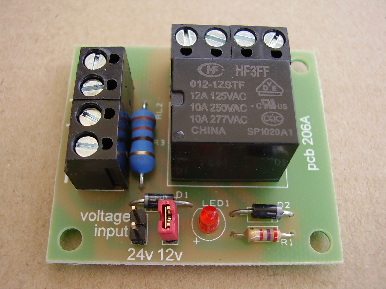 Handy Little Mini relay Board, 12vdc or 24vdc operation