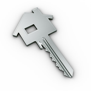 a key in the shape of a home