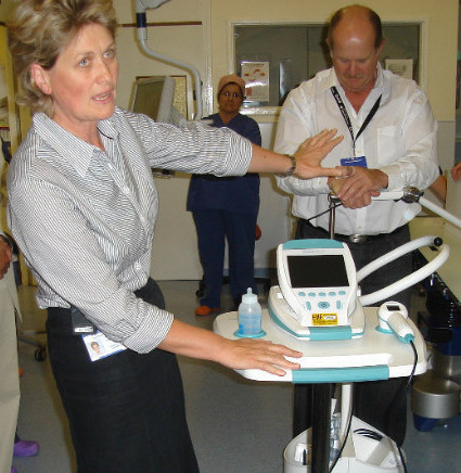 Alison Gidlow, Senior Urology Cancer Nurse Specialist, explaining the bladder scanner