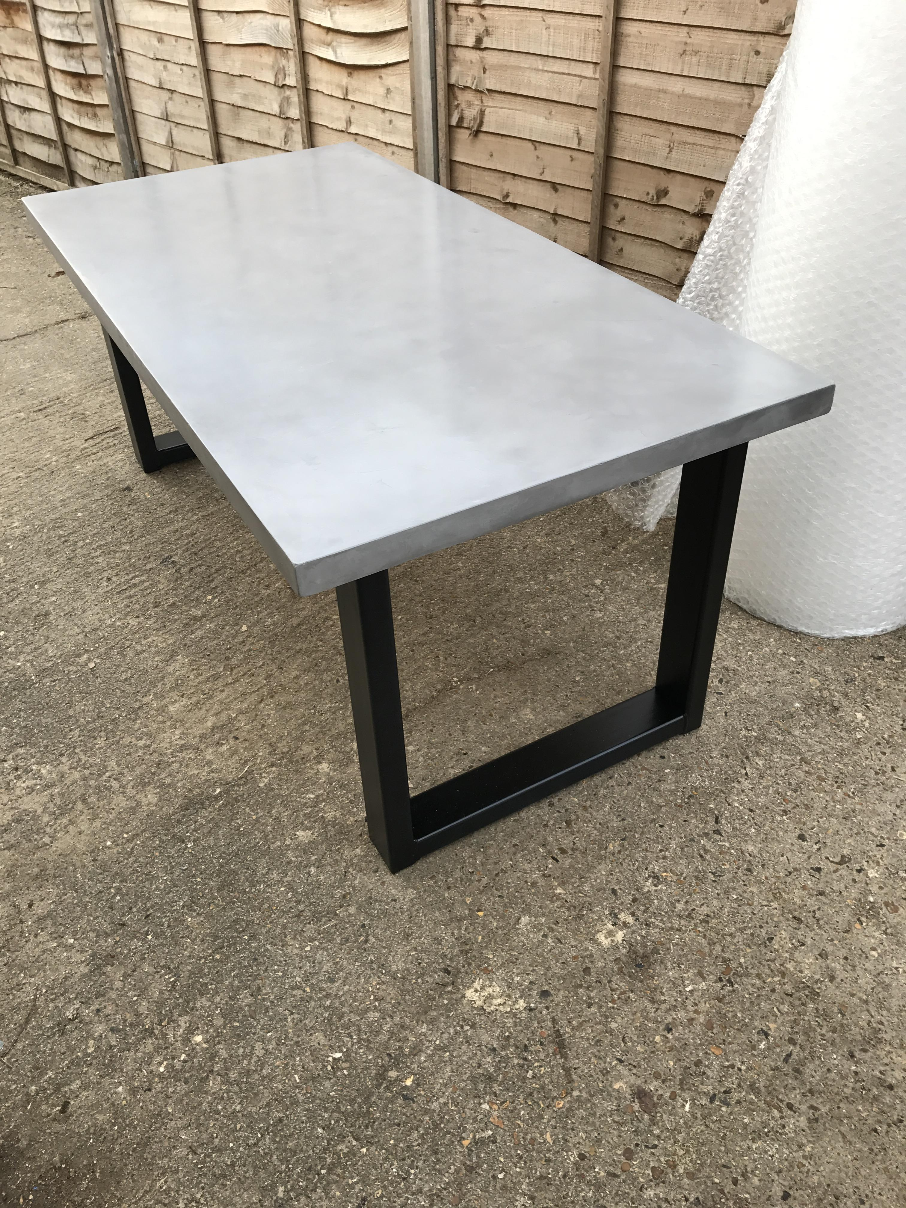 Chunky polished concrete dining table