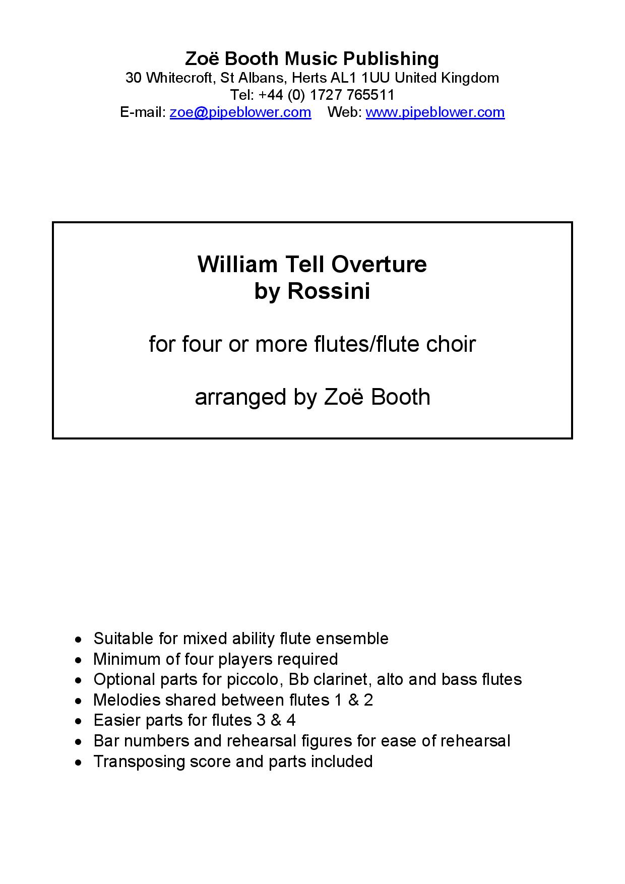 The William Tell Overture by Rossini,  arranged by Zoë Booth for four or more flutes/flute choir