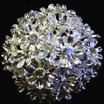 Small silver brooches - flower ball small round domed brooch 30 mm