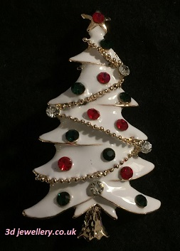 Christmas tree brooch red, green, white and gold