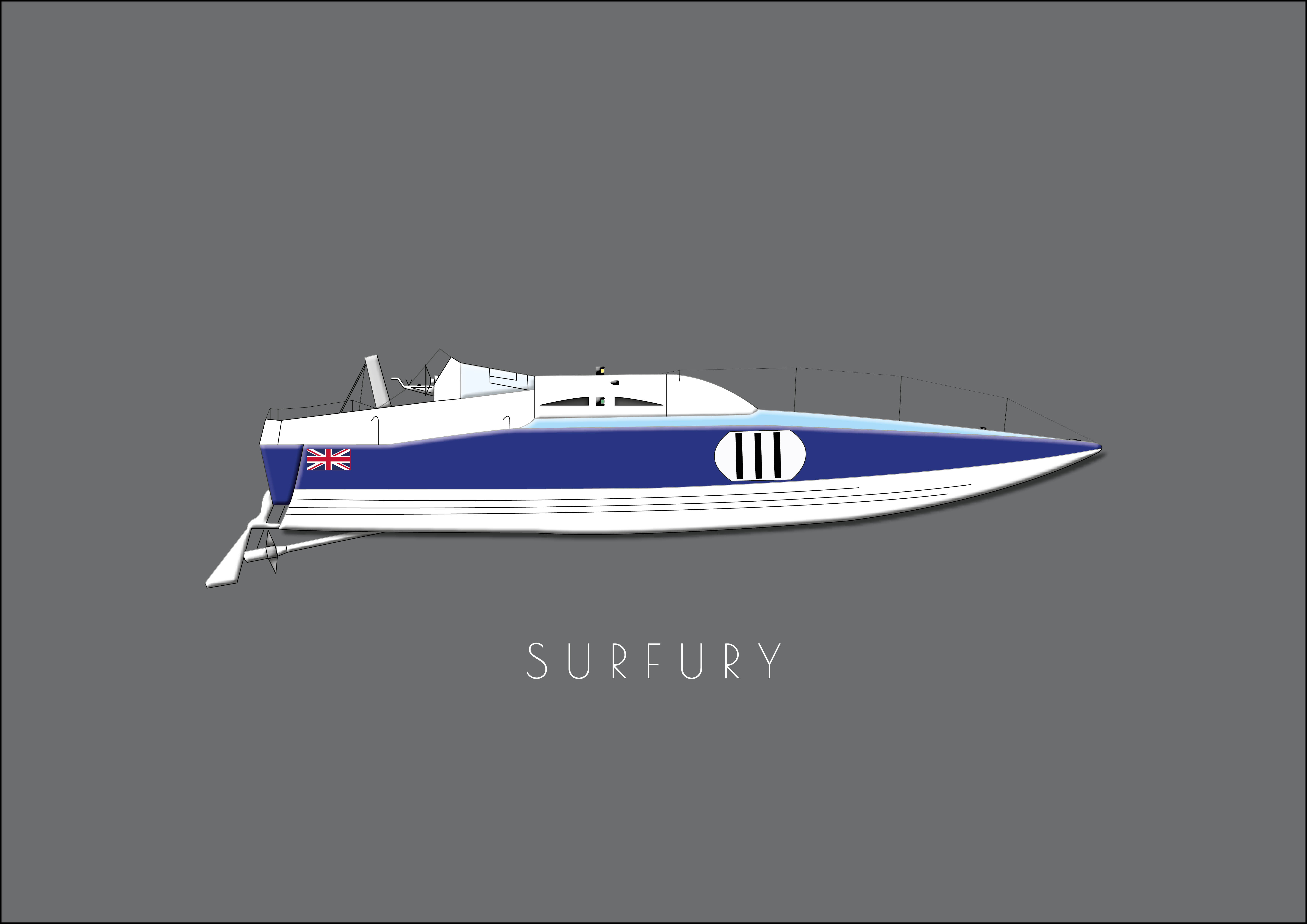 "Powerboat ""Surfury"" - Single postcard"